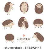 Stock vector vector set of cute hedgehogs 546292447