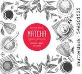Stock vector matcha tea japanese traditions of tea ceremony vector illustration frame for tea shop vintage 546301525