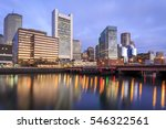 Stock photo the skyline of boston in massachusetts usa at sunrise showcasing its skyscrapers at the financial 546322561