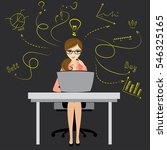 business woman or office worker ... | Shutterstock .eps vector #546325165