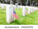 American Flags On Tombstones I...