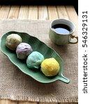 colorful dessert mochi on plate. | Shutterstock . vector #546329131