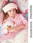 ill girl with teddy bear in the ... | Shutterstock . vector #54633046