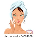 beautiful girl during beauty... | Shutterstock .eps vector #54634360