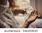 a young girl fell ill and... | Shutterstock . vector #546353035