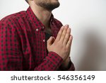 prayer. man. | Shutterstock . vector #546356149