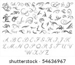 floral pattern and initials | Shutterstock .eps vector #54636967