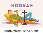 man smoking hookah. flat vector ... | Shutterstock .eps vector #546370405