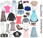 different female clothes  shoes ... | Shutterstock . vector #54637750
