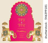 Indian wedding Invitation card templates with gold Elephant patterned and crystals on paper color. | Shutterstock vector #546399181