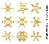 set of gold snowflakes vector... | Shutterstock .eps vector #546401881