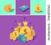 huge money pile. stacked packs... | Shutterstock .eps vector #546403561
