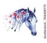 violet watercolor horse head... | Shutterstock . vector #546408775