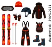 skiing equipment vector icons.... | Shutterstock .eps vector #546410131