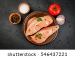 raw uncooked chicken fillet on... | Shutterstock . vector #546437221