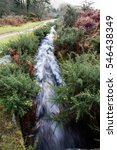 Small photo of Water channel, old structure. Devonport Leat, Dartmoor National Park, Devon, England, United Kingdom.