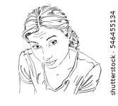 hand drawn portrait of white... | Shutterstock . vector #546455134