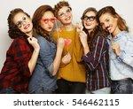 five  sexy hipster girls best... | Shutterstock . vector #546462115