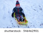 little boy with a sleigh or... | Shutterstock . vector #546462901