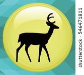 black vector silhouette of deer | Shutterstock .eps vector #546471811