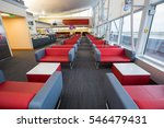Small photo of Boryspil, Ukraine - OCTOBER 27, 2016: Airport VIP lounge. Airport business class lounge. Airport waiting hall. Airport interior.
