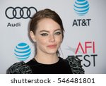 """Small photo of LOS ANGELES, CA. November 15, 2016: Actress Emma Stone at the gala screening for her movie """"La La Land"""", part of the AFI FEST 2016, at the TCL Chinese Theatre, Hollywood."""