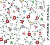 flower butterfly patterned... | Shutterstock .eps vector #546500671