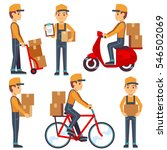 delivery service man with boxes ... | Shutterstock .eps vector #546502069