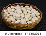 White Beans  In A Wicker Basket