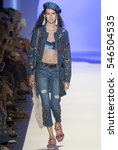 Small photo of NEW YORK, NY - SEPTEMBER 08, 2016: Alexia Bellini walks the runway at the Desigual Spring Summer 2017 fashion show during New York Fashion Week