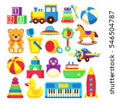 kids toys cartoon vector icons... | Shutterstock .eps vector #546504787