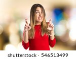 young girl crossing his fingers ... | Shutterstock . vector #546513499