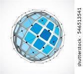 3d digital wireframe spherical... | Shutterstock . vector #546513541