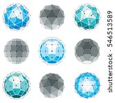 3d digital wireframe spherical... | Shutterstock . vector #546513589
