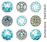set of dimensional wireframe... | Shutterstock . vector #546513625