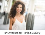 beautiful woman walking in a... | Shutterstock . vector #546526699