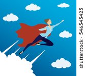 woman looking like super hero... | Shutterstock .eps vector #546545425