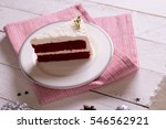 christmas cake on plate on red... | Shutterstock . vector #546562921