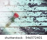 retro one red rose flower on... | Shutterstock . vector #546572401