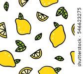 cute lemons on a white... | Shutterstock .eps vector #546623275