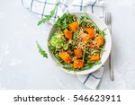 green salad with sweet potatoes ... | Shutterstock . vector #546623911