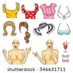 vector illustration pop art girl | Shutterstock .eps vector #546631711
