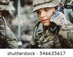 British soldier with radio tube in military maneuver. war, army, technology and people concept. - stock photo
