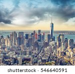 aerial view of lower manhattan... | Shutterstock . vector #546640591