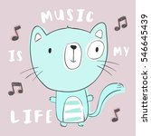 Stock vector cute kitten dancing with music 546645439