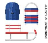 winter sleds set in flat design.... | Shutterstock .eps vector #546650149
