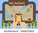 taxi mobile app concept. vector ... | Shutterstock .eps vector #546651865