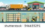 warehouse workers are arranging ... | Shutterstock .eps vector #546655291