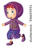 little girl wearing purple... | Shutterstock .eps vector #546655951