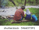 cooking breakfast on a campfire ... | Shutterstock . vector #546657391